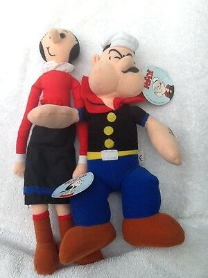 Lot of 2 POPEYE & OLIVE OYL Plush Doll Toy NWT King Features 1994