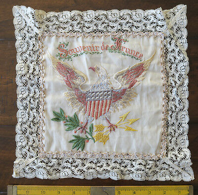 Antique  Hankerchief Lace Embroidered & Silk Souvenir De France