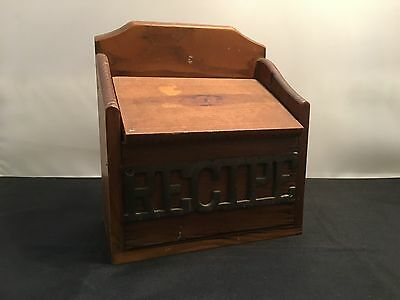 Vintage Wood Recipe Box with Metal Sign (WC17-5)