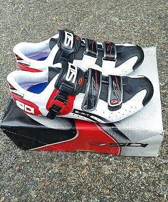 Sidi Genius 5 Fit Carbon White Black Red 3-Bolt Road Cycling Shoes 41.5