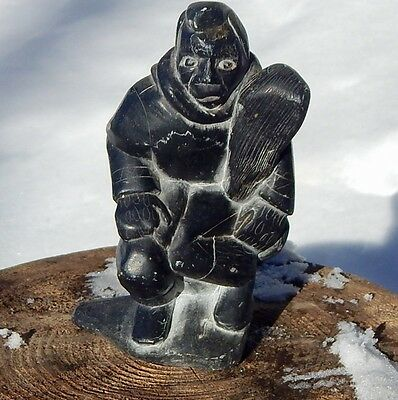 """Inuit Art soapstone Carvings: Inuk with club, about 5"""", signed Josephie, 18056"""
