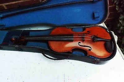 old violin and rare bow, comes cased