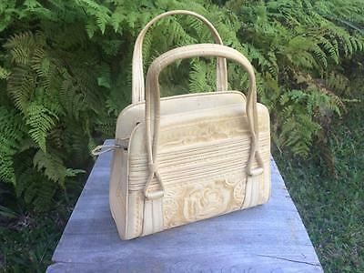 Vintage Hand Tooled Blonde Ivory Leather bag with Roses by Flores Bags Mexico