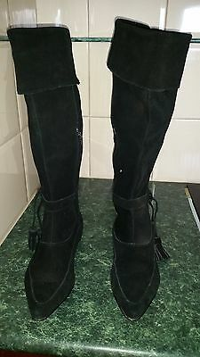 size 7  .... NOEL  black suade leather boots