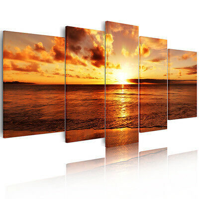 5pcs Golden Beach Sunrise Canvas Prints Wall Art Painting Picture Unframed A+