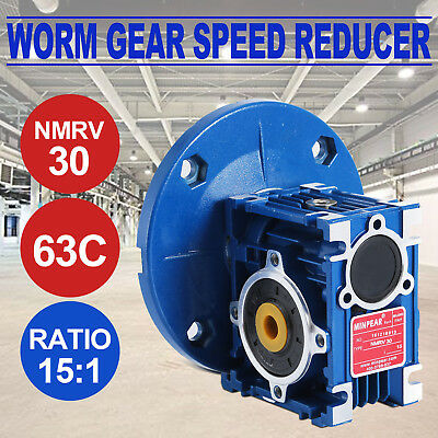 NMRV030 Worm Gear Ratio 15:1 63C Speed Reducer Gearbox 0.38HP 1PC Update Pro