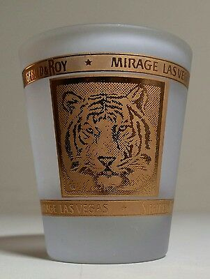 Siegfried and Roy Frosted Shot Glass 1.5oz  Las Vegas Mirage / Tiger / Gold Trim