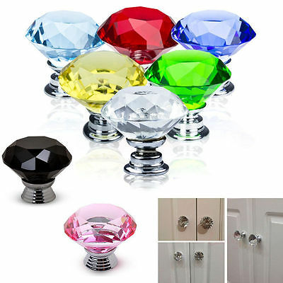5X 30MM Clear Crystal Glass Door Knobs Furniture Drawer Cabinet Kitchen Handles