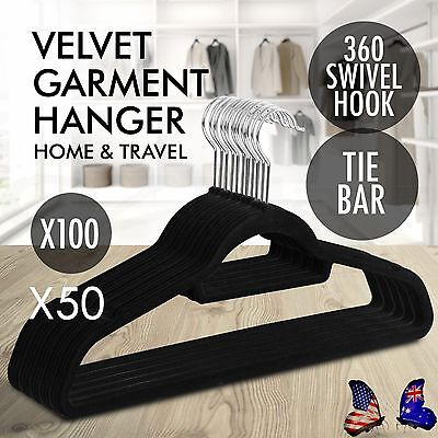 Non Slip Coat Hangers Flocked Velvet Clothes Closet Slim 50-400 W/ TieBar BG6