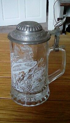 Vintage Domex glass tankard. Leaping salmon design with pewter lid.