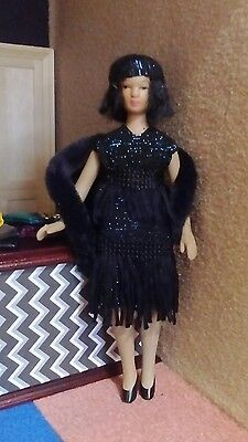 12th scale dolls house woman - glamorous 1920s style flapper