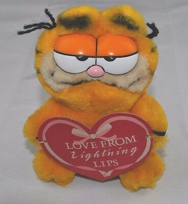 Vintage Garfield Plush Soft Toy Dakin Valentines Love Lightning Lips Heart Sign