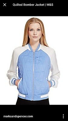 M&s Size 18 Blue And White Bomber Jacket