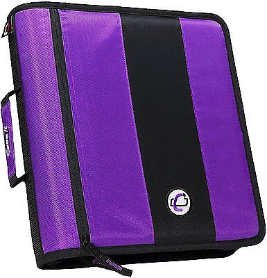 2-Inch Ring Zipper Binder with O-rings Built-in handle & shoulder strap Purple