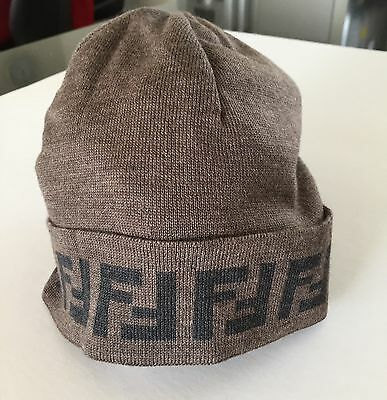 Authentic Fendi Brown Wool Hat Beanie with Logo