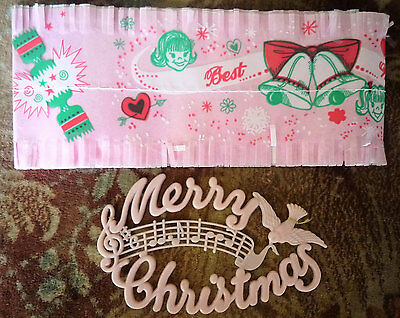 1960s Christmas cake wrapper and plastic Merry Christmas sign