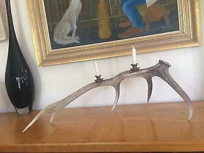 Fab Vintage Rustic Antler Candelabra Natural Shed - Industrial Retro Mid Century