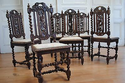 Rare & Impressive Antique French Renaissance Style Hunting Oak Dining Chairs