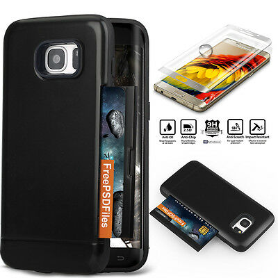 [2 IN 1]Premium Card Pocket Cover Case +Tempered Glass Samsung Galaxy S7/S7 Edge