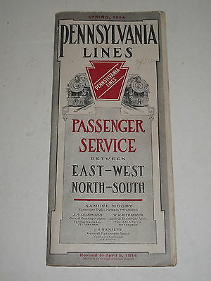 PENNSYLVANIA LINES RAILWAY TIMETABLE SPRING, 1914 Train Time Tables