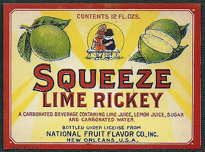 1920's SQUEEZE LIME RICKEY Bottle Label - Stone Litho - New Orleans