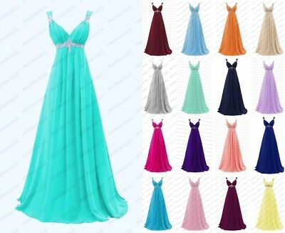 Formal Long Chiffon Evening Party Ball Gown Cocktail Bridesmaid Dress Stock 6-18