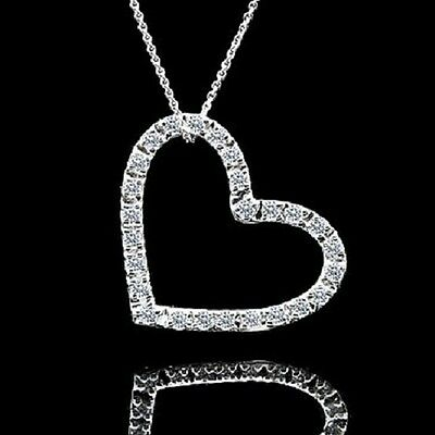 """Fashion Women 14K White Gold Over Open Heart Pendant & Chain Necklace 18"""" Inches"""