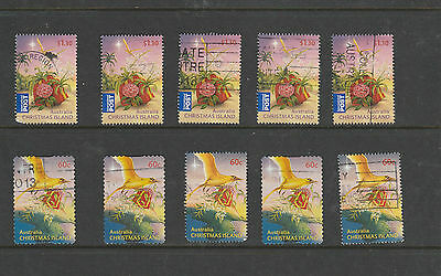 2011 5 each of Christmas Island 60 cent and $1.30 International Post Used Stamps