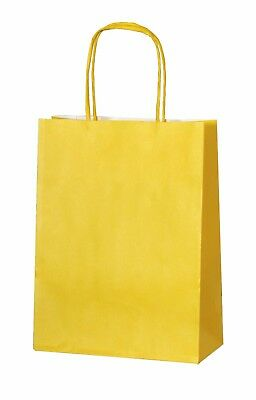 YELLOW PAPER PARTY BAGS WITH HANDLES GIFT CARRIER BAGS  LOOT 18 x 22 x 8cm