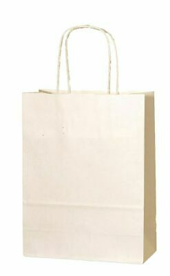 CREAM / IVORY PAPER PARTY BAGS WITH HANDLES GIFT CARRIER BAGS  LOOT 18x 22x 8cm