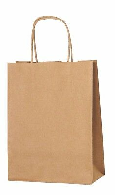 BROWN PAPER PARTY BAGS WITH HANDLES GIFT CARRIER BAGS  LOOT 18 x 22 x 8cm