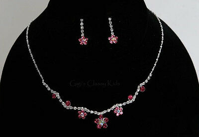 New Girls Kids Children's Pink Rhinestone Necklace Earrings Jewelry Set Flower