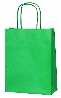 GREEN PAPER PARTY BAGS WITH HANDLES GIFT CARRIER BAGS  LOOT 18 x 22 x 8cm