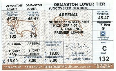 TICKET 1997 Last Game at Baseball Ground (Derby County v Arsenal)