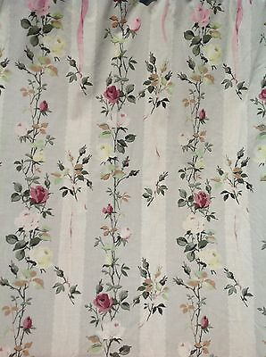 Vintage 1950s Rose Floral Print Cotton Curtains 66inch X 43inch
