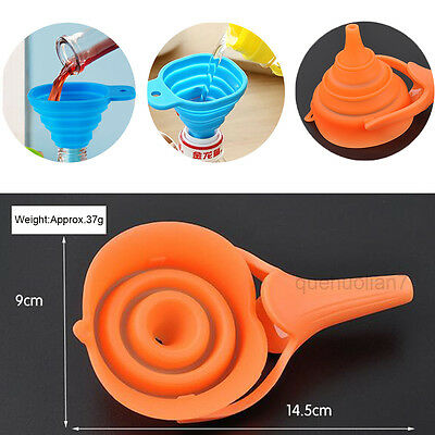 2 PCS Kitchen Fold Silicone Heat Oil Resistant Water Liquid Collapsible Funnel