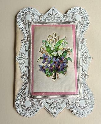 Beautiful Antique Victorian Die Cut Valentine Card With Silk Panel Folding