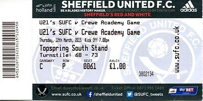 Sheffield United v Crewe Alexandra 12/03/15 Ticket Under 21's