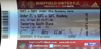 Sheffield United v Sheffield Wednesday 31/08/15 PDL Division 2 Ticket