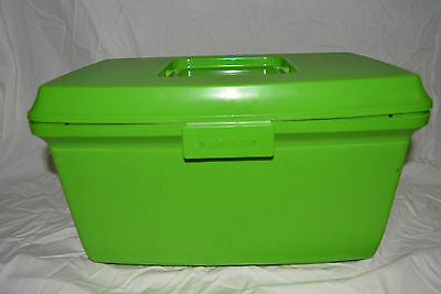 Vintage Singer Sewing Box Lime Green Plastic with insert