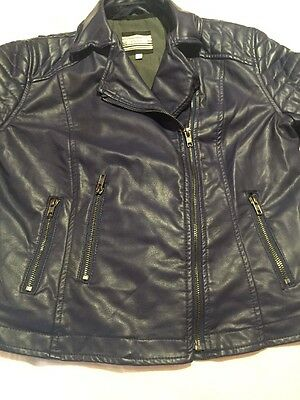 Womens Next Navy Blue Leather Jacket Size 8