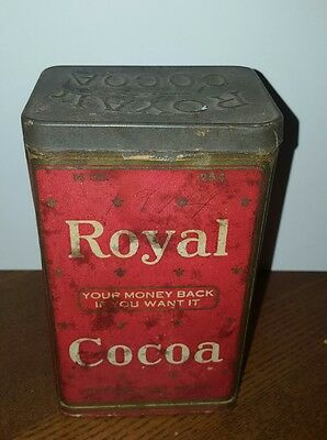 EARLY 1900s ROYAL COCOA TIN JERSEY CITY NJ BREWSTER COCOA CO. 14oz. For 25 cents