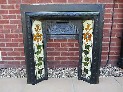 Victorian Cast Iron Tiled Fireplace insert and Slate Surround