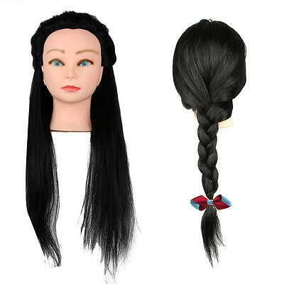 100% Real Human Hair Training Head Doll Mannequin Hairdressing Practice Clamp