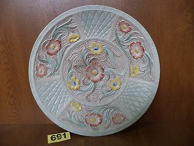Large 30.5 cm H.J Wood Ltd Art Deco Floral Hand Painted Charger / Wall Plate