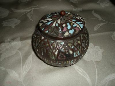 ANTIQUE BALI MULTI-COLOR ENAMELED COPPER ROUND COVERED BOX 19th CENTURY