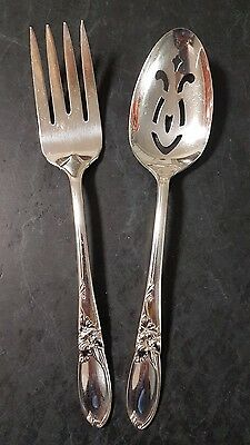 Community Silver Plated Large Serving Spoon & Fork 2 Pieces