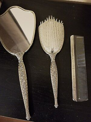 Antique matching Mirror, Hair brush and Comb set
