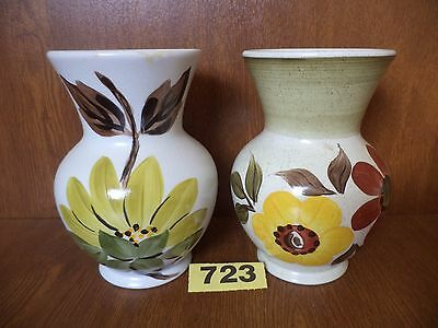 Pair of E. Radford Art Deco Hand Painted Floral Vases