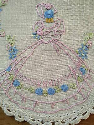 Vintage Crinoline Lady - hand embroidered doily